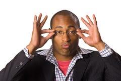 Man holding eyeglasses Royalty Free Stock Photo