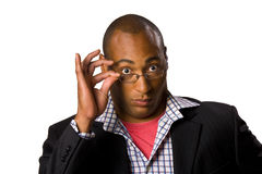 Man holding eyeglasses Stock Photos
