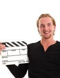 Man holding a film slate Stock Photos