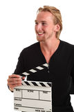 Man holding a film slate Stock Image