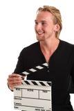 Man holding a film slate Stock Image