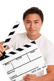 Man holding a film slate Royalty Free Stock Image