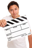 Man holding a film slate Royalty Free Stock Images