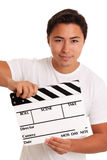 Man holding a film slate Stock Images