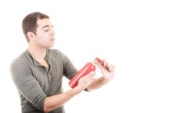 Man holding a fire extinguisher, isolated on white Stock Photography