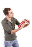 Man holding a fire extinguisher, isolated on white Royalty Free Stock Images