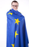 Man holding flag of European Union. And smiling Royalty Free Stock Photos