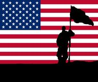 Man holding Flag with Star-Banner. Man holding Flag iwith Star-Banner - Symbol for Victory, War, Army, USA, Iraq etc Royalty Free Stock Image
