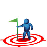 Man holding a flag on the target icon Royalty Free Stock Photos