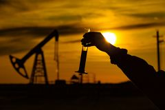 A man holding a flask of oil. Oil rigs in the background. Oil production in Russia. Sunset. Oil pumping royalty free stock photos