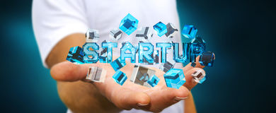 Man holding floating 3D render startup presentation with cube. Man on blurred background holding floating 3D render startup presentation with cube Royalty Free Stock Photo