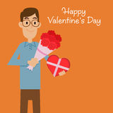 Man Holding Flower Bouquet and Heart Shape Present Stock Image