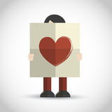 Man holding folded paper with heart Stock Images