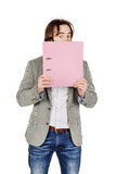 Man holding folder. business, people, finances and paper work co Royalty Free Stock Photography