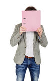 Man holding folder. business, people, finances and paper work co Stock Image