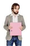 Man holding folder. business, people, finances and paper work co Stock Photography
