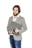 Man holding folder. business, people, finances and paper work co Stock Photo