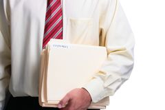 Man holding folders Royalty Free Stock Photography