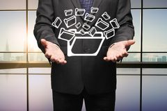Man holding folders Stock Photography