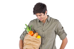 Man holding food bag Royalty Free Stock Images