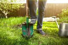 Man holding foot on shovel at garden at sunny day Royalty Free Stock Photos