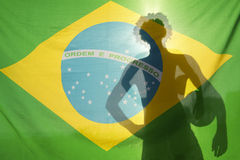 Man Holding Football Shadow Brazil Flag Stock Image