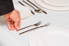 Man holding fork Stock Photography