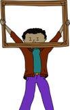 Man Holding Frame Stock Image