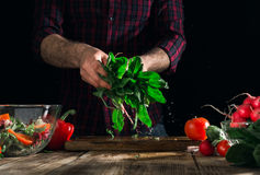 Man holding a fresh, wet bunch of spinach. Man preparing salad with fresh vegetables on a wooden table. Man holding a fresh, wet bunch of spinach Stock Photos