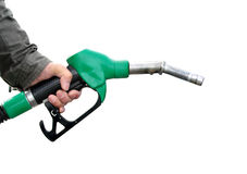Man holding fuel pump on white background Stock Photo