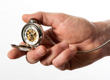 Man holding a full hunter pocket watch Stock Photos