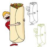 Man Holding Giant Burrito Royalty Free Stock Photo