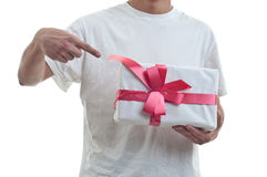 Man holding a gift Stock Photo