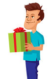 Man holding gift box with red bow Royalty Free Stock Image