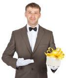 Man holding gift box Stock Photography