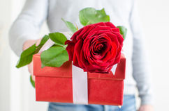 Man holding a gift and a red rose Stock Image
