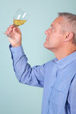 Man holding a glass of white wine Stock Photos