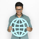 A man holding global community sign Royalty Free Stock Image