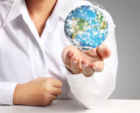 Man holding global in hands Royalty Free Stock Photo