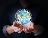 Man holding global in hands Royalty Free Stock Images