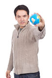 Man holding a globe Royalty Free Stock Image