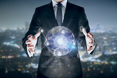 Man holding globe with connections Royalty Free Stock Image