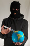 Man Holding a Globe Earth Stock Photo