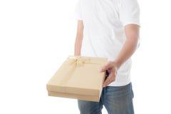 Man  holding  golden gift box Stock Image