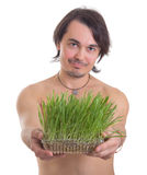 Man holding grass flowerpot isolated on white Royalty Free Stock Photo