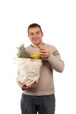 Man Holding Grocery Items Royalty Free Stock Images