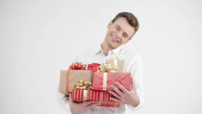 Man holding group of gift boxes stock video