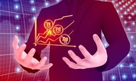 Leadership and management. Man holding growth diagram and precious metals labels in hands. Stock exchange relative. 3D rendering Royalty Free Stock Photos