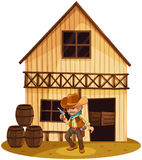 A man holding a gun in front of a wooden house. Illustration of a man holding a gun in front of a wooden house on a white background Royalty Free Stock Image