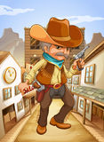 A man holding a gun with a hat outside the saloon Royalty Free Stock Image